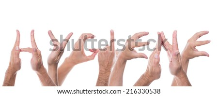 lot of hands form the word hygiene - stock photo
