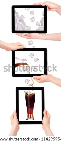 lot of ice drop in to the fresh coke on a digital tablet screen. communication concept - stock photo