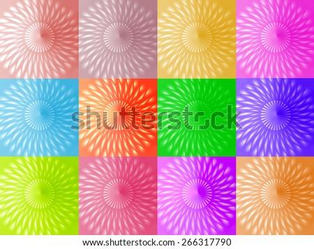 Lot of identical colorful multicolored threedimensional spirals - stock photo
