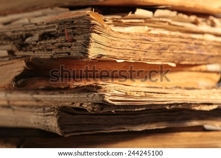 Lot of old vintage retro books, a stack of old books - stock photo