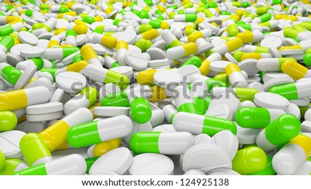 Lot of pills and capsules in perspective view. Medicines concept.