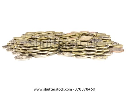 lot of Russian coins stacked on a white background - stock photo