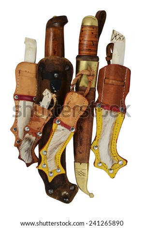lot of traditional Finnish knife puukko on a white background - stock photo