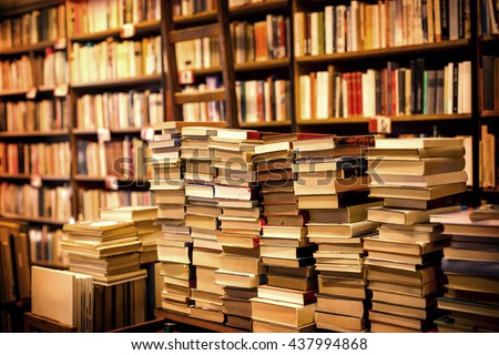 lot of used books in the bookstore - stock photo