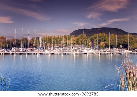 lot of yachts  port - stock photo
