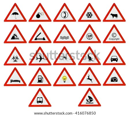 Lot red triangle attention road sign