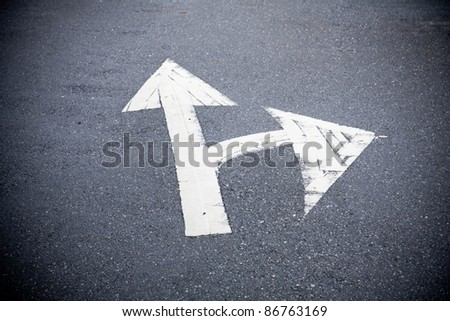 lot road sign and arrow - stock photo