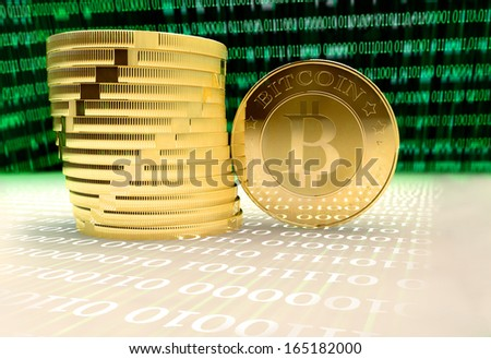lots of bitcoins - bit coin BTC the new virtual money - stock photo