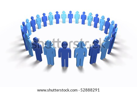 Lots of blue 3D men and women standing in a circle, isolated