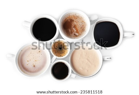 Lots of coffee cups on white background - stock photo