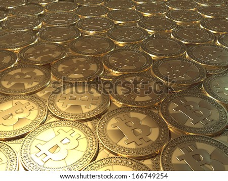 Lots of coins Bitcoin - stock photo