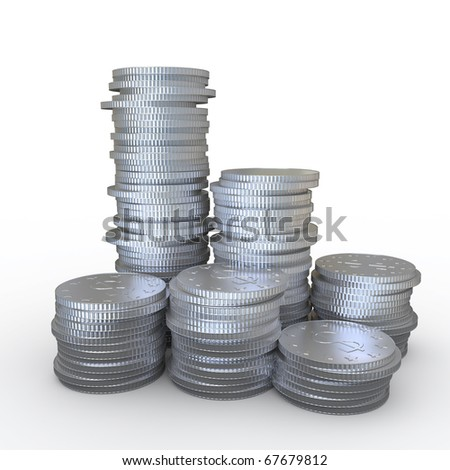 Lots of coins with the symbol of money - stock photo