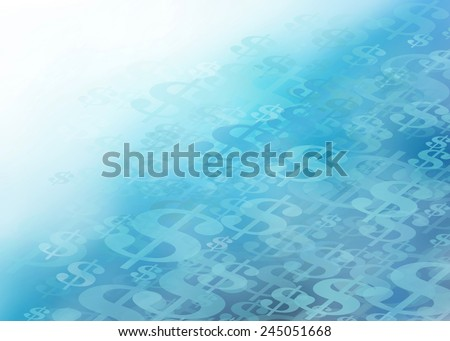 Lots of Cold Cash...Abstract Illustration of Layers of Dollar Signs that Appear to be Frozen in Ice Blue Background with the Concept of Being Lots of Cold Cash. - stock photo