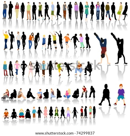 Lots of Colorful People with Silhouettes and Shadow Reflections - stock photo