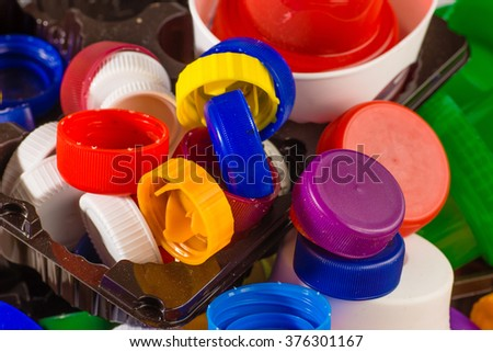 Lots of colorful plastic caps