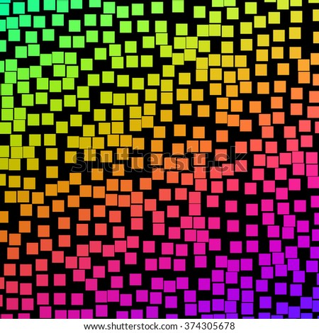 Lots of colorful square blocks on a black background.