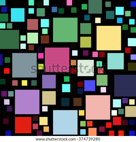Lots of colorful square shapes on a black background.