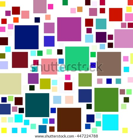 Lots of colorful square shapes on a white background. - stock photo