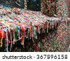 Lots of colorful used chewing gum on a window sill - landscape photo - stock photo
