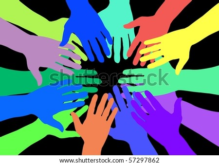 Lots of colourful hands over a black background - stock photo