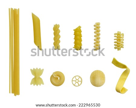 lots of different pasta types in white back - stock photo
