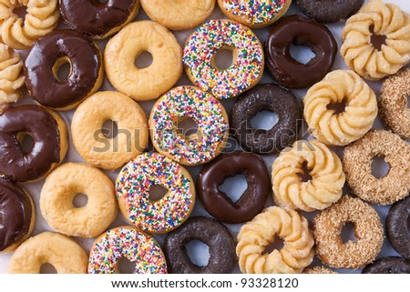 lots of donuts in rows - stock photo