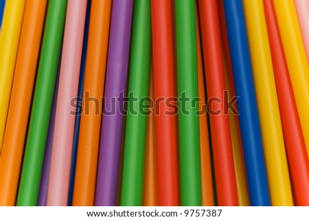 Lots of drinking straws of various colors