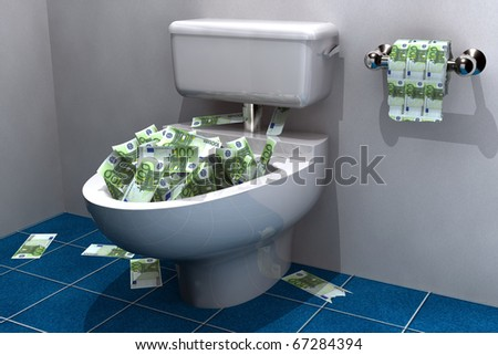 lots of euros about to be flushed down the drain - stock photo
