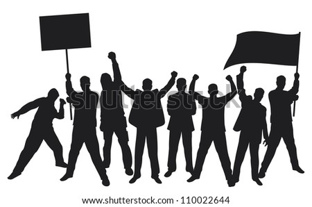 lots of furious people protesting (a group of people protesting, protest, man holding flag, man holding transparent, demonstrator, protest man, demonstrations, protest, demonstrator, hooligan, fan) - stock photo