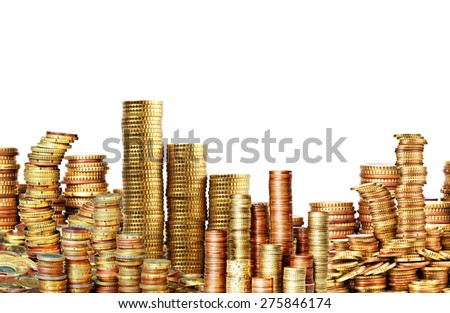 lots of golden coins isolated on white - stock photo