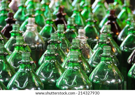 Lots of green bottles - stock photo