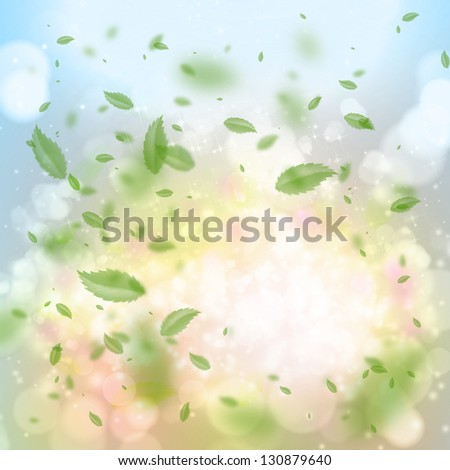 Lots of green leaves spinning around the sun - beautiful nature background - stock photo
