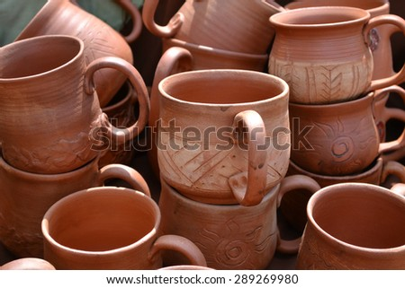 Lots of handmade clay pots