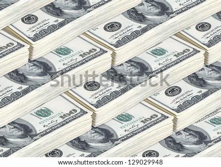 lots of hundred american dollar bills - stock photo