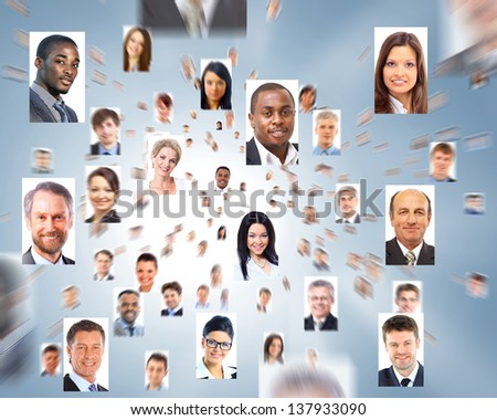 lots of isolated portraits of business people - stock photo