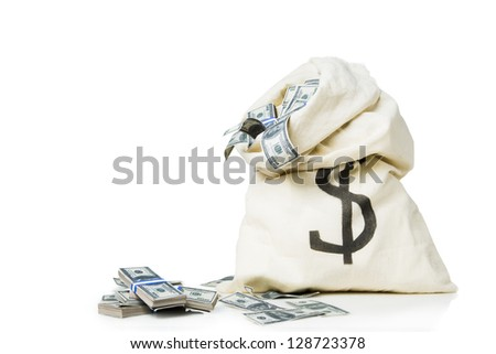 lots of money inside a bag - stock photo
