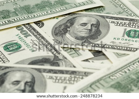 lots of one hundred dollar banknotes, background - stock photo