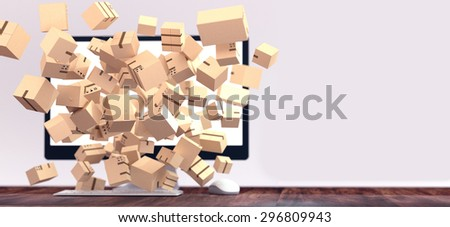 Lots of packages bursting out of computer screen. Online shopping concept illustration  with space for text.