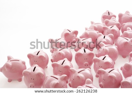 Lots of Piggy Banks - stock photo