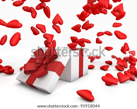 Lots of red hearts jumping from a gift box