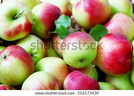 Lots of ripe apples background - stock photo