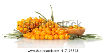 Lots of sea-buckthorn with berries and a spoon isolated on white background.