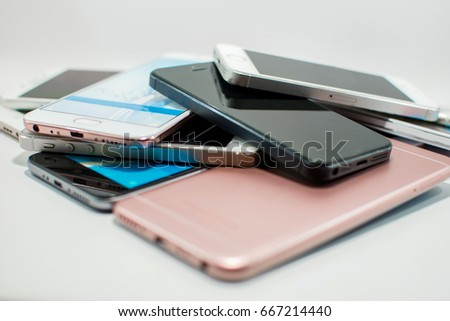lots of smartphone on a white background