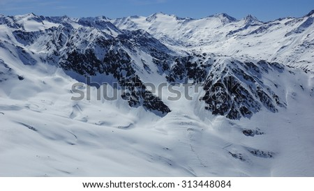 lots of snow and beautiful winter in the rocky mountains - stock photo
