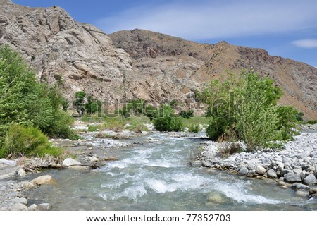 Lots of water flows through the desert in the Whitewater Canyon area of Southern California. - stock photo