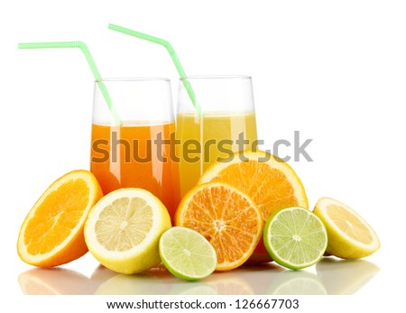 Lots ripe citrus with juices isolated on white
