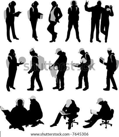 Lots silhouettes of students. Vector illustration.