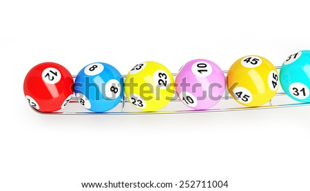 lottery balls on a white background - stock photo