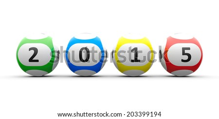 Lottery balls on a white table represents the new 2015, three-dimensional rendering - stock photo