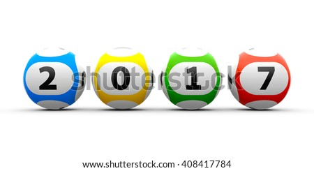Lottery balls on a white table represents the new 2017, three-dimensional rendering, 3D illustration - stock photo